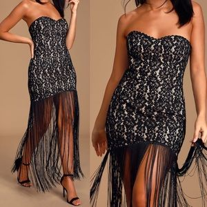 🆕 Black Lace Fringe Strapless Bodycon Maxi Dress